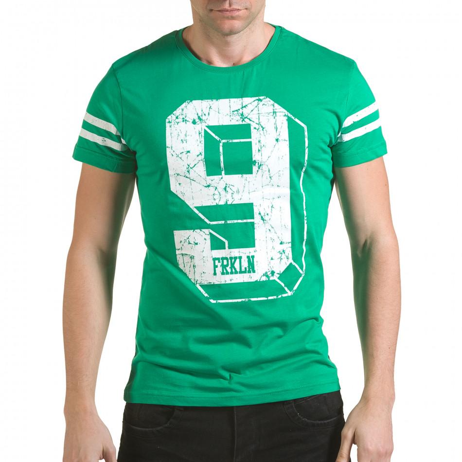 Мъжка зелена тениска с голям номер 9 il170216-19