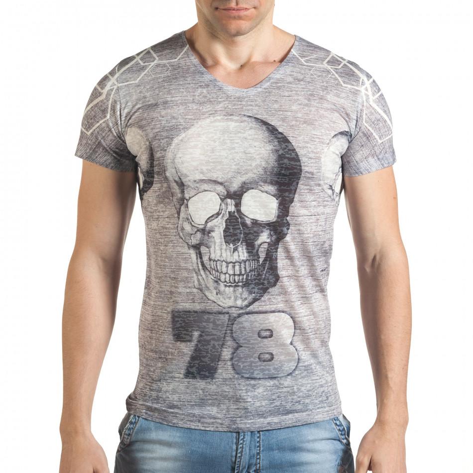 Мъжка сиво-бяла тениска с черепи и номер 78 il140416-65
