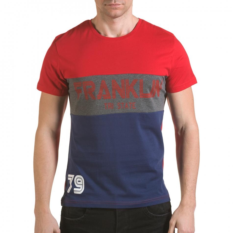 Мъжка червена тениска със синя долна част il170216-13