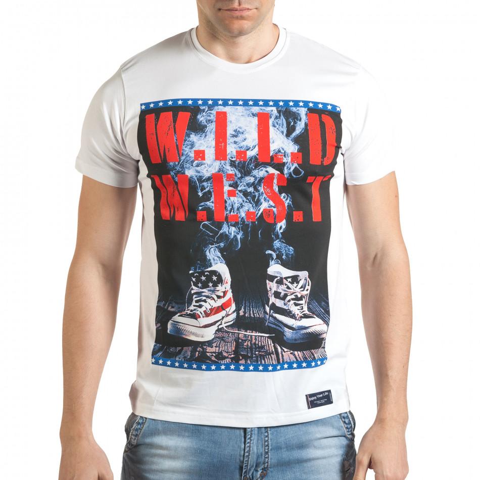 Мъжка бяла тениска с кецове на картинката tsf140416-72