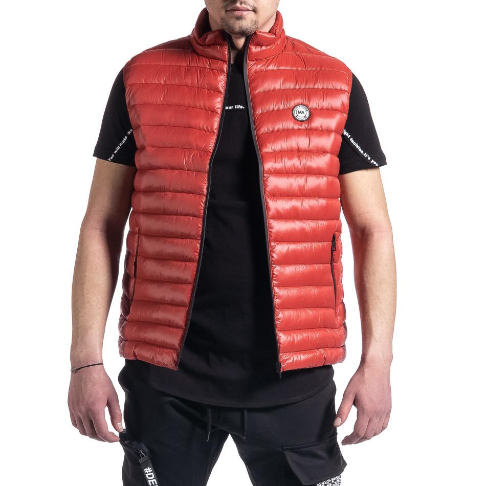 Капитониран мъжки червен елек с лого it270221-60