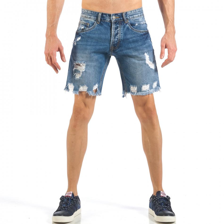 Мъжки непоръбени къси дънки в синьо it260318-123