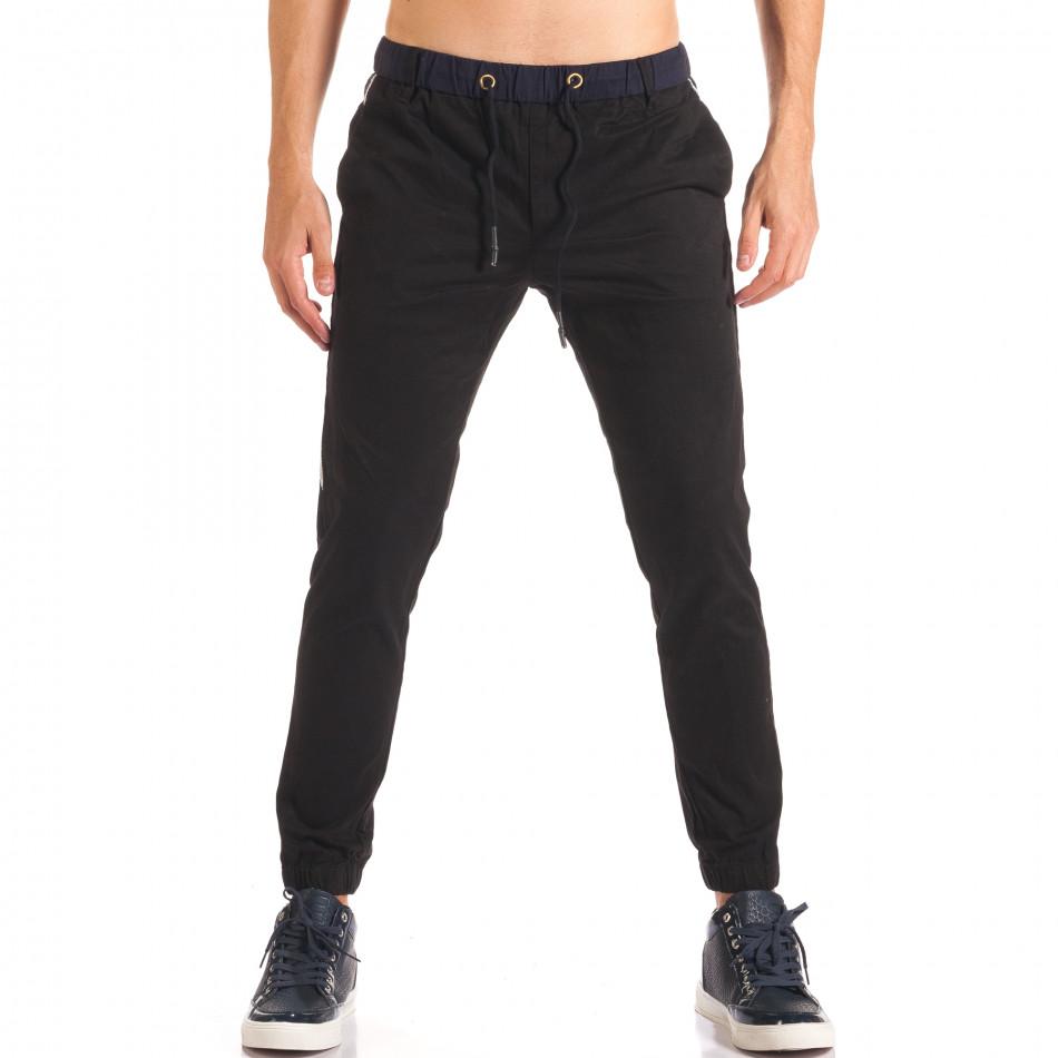 Мъжки черен спортен панталон със сини ленти  it150816-17