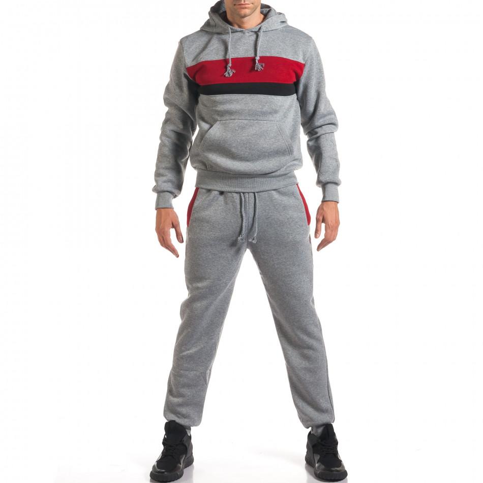 Мъжки сив спортен комплект с 2 ленти отпред it160916-85