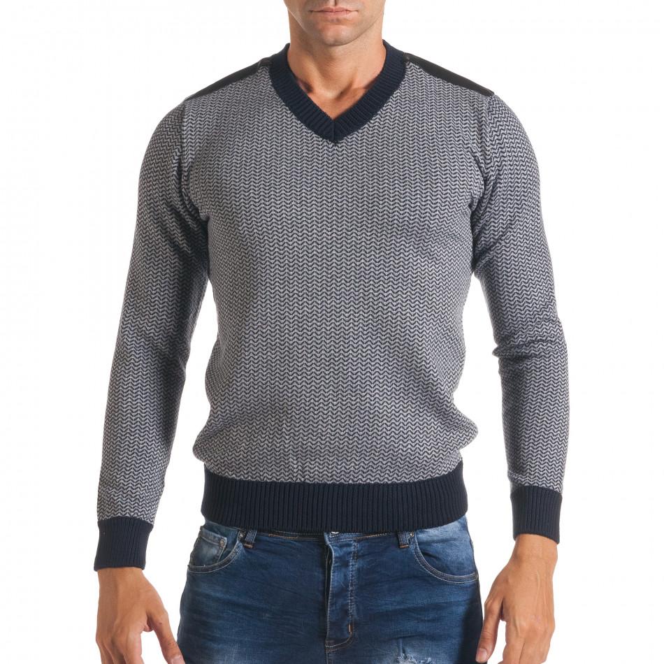 Мъжки синьо-сив пуловер с фигурална плетка it170816-7
