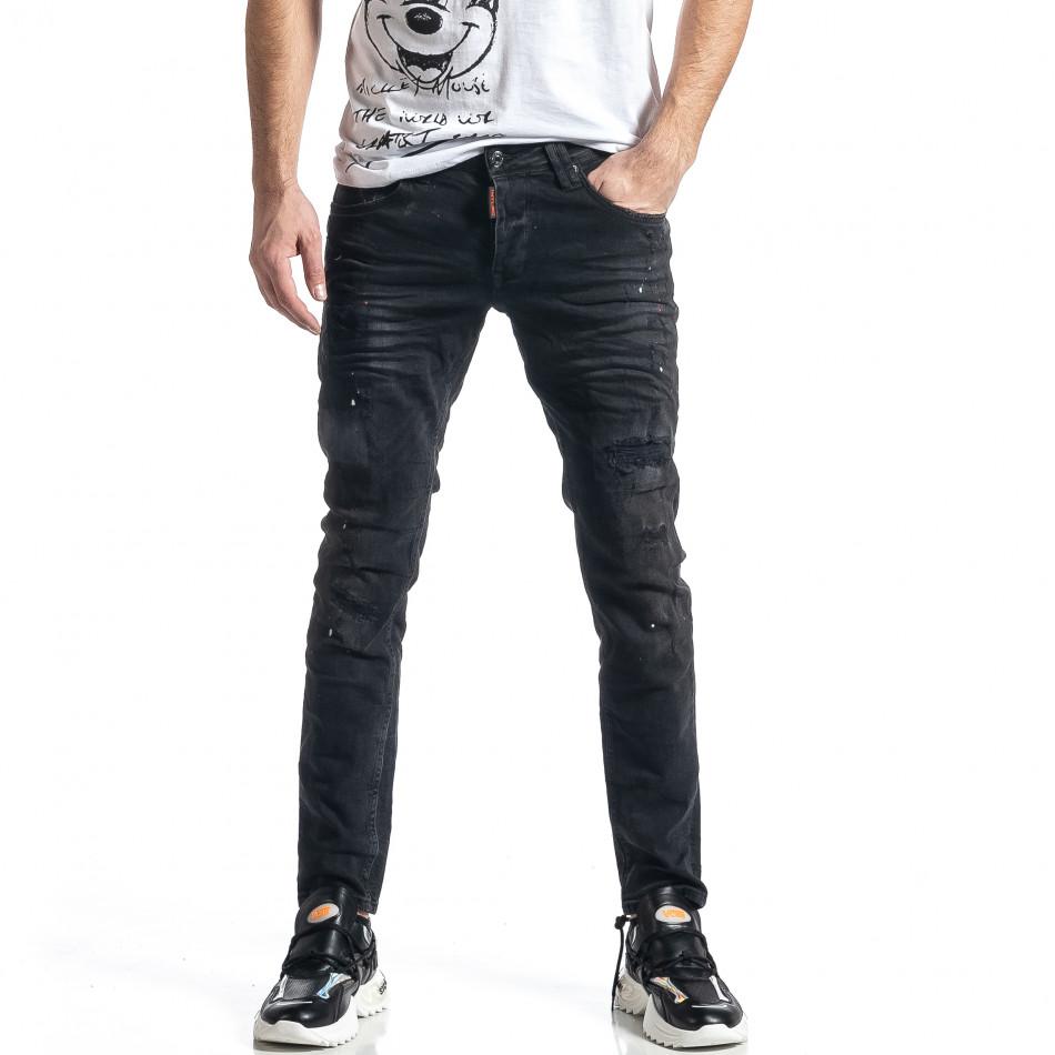 Мъжки черни дънки Destroyed Paint tr010221-34