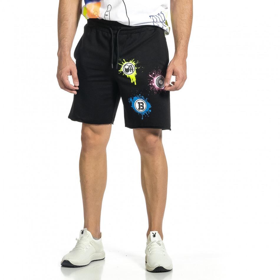 Трикотажни мъжки черни шорти с принт tr150521-20