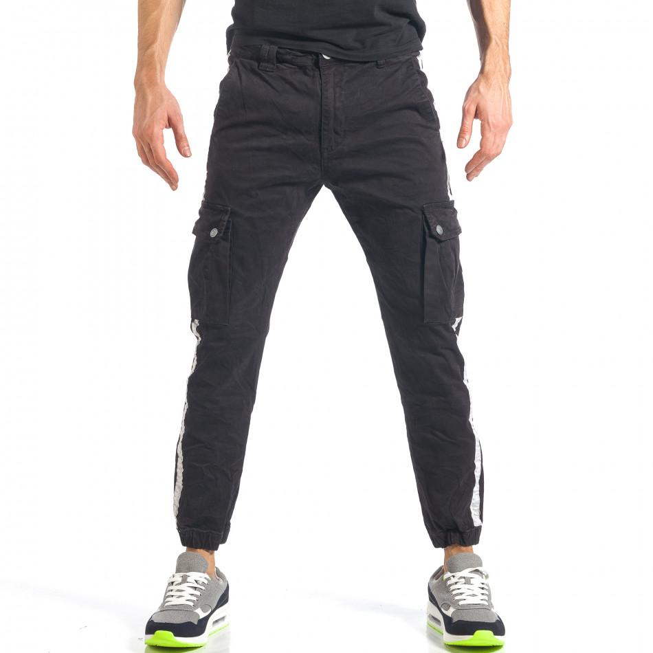 Мъжки черен карго панталон с ленти отстрани it290118-10