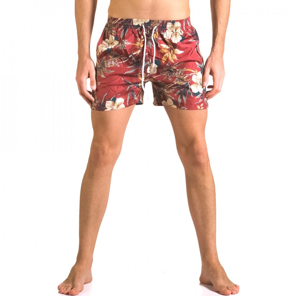 Мъжки червени бански тип шорти на цветя ca050416-21