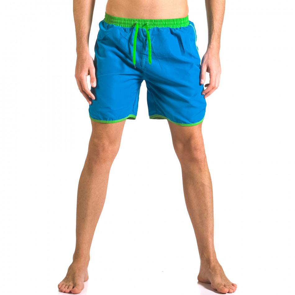 Светло сини мъжки бански шорти с джобове ca050416-28
