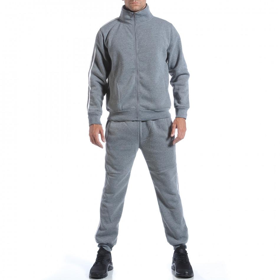 Мъжки светло сив спортен комплект с бели ленти it160817-72