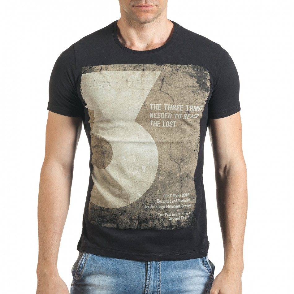 Мъжка черна тениска с номер 3 и щампа il140416-34
