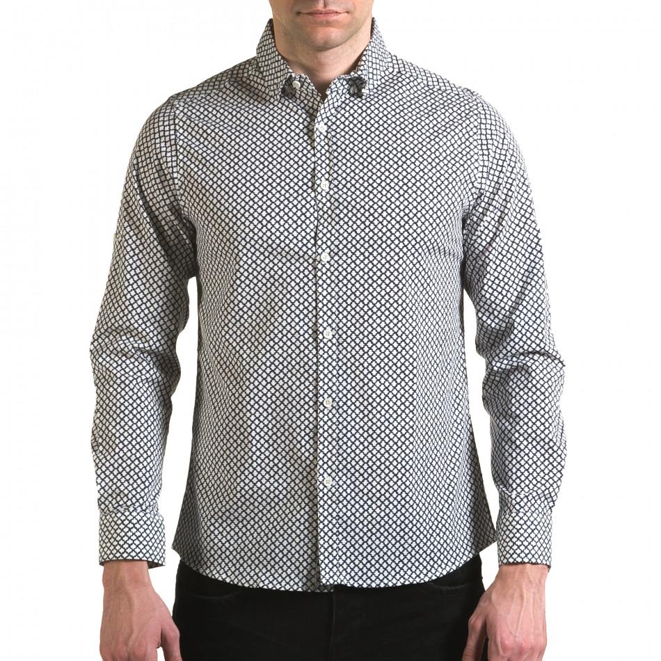 Мъжка бяла риза със синя фигурална шарка il170216-100