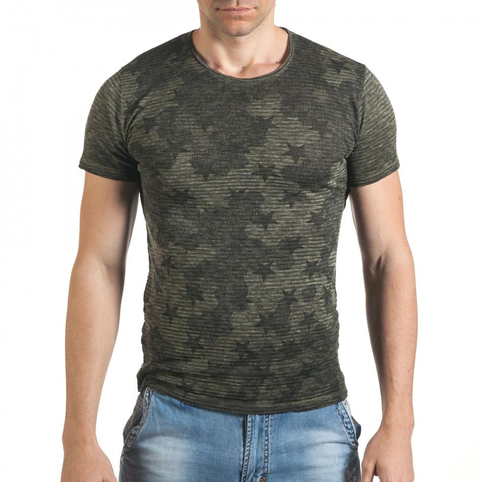 Мъжка тениска със звезди леко прозрачна tsf060416-3