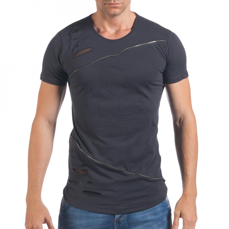 Мъжка синя тениска със зъбци от цип и декоративни скъсвания il060616-92