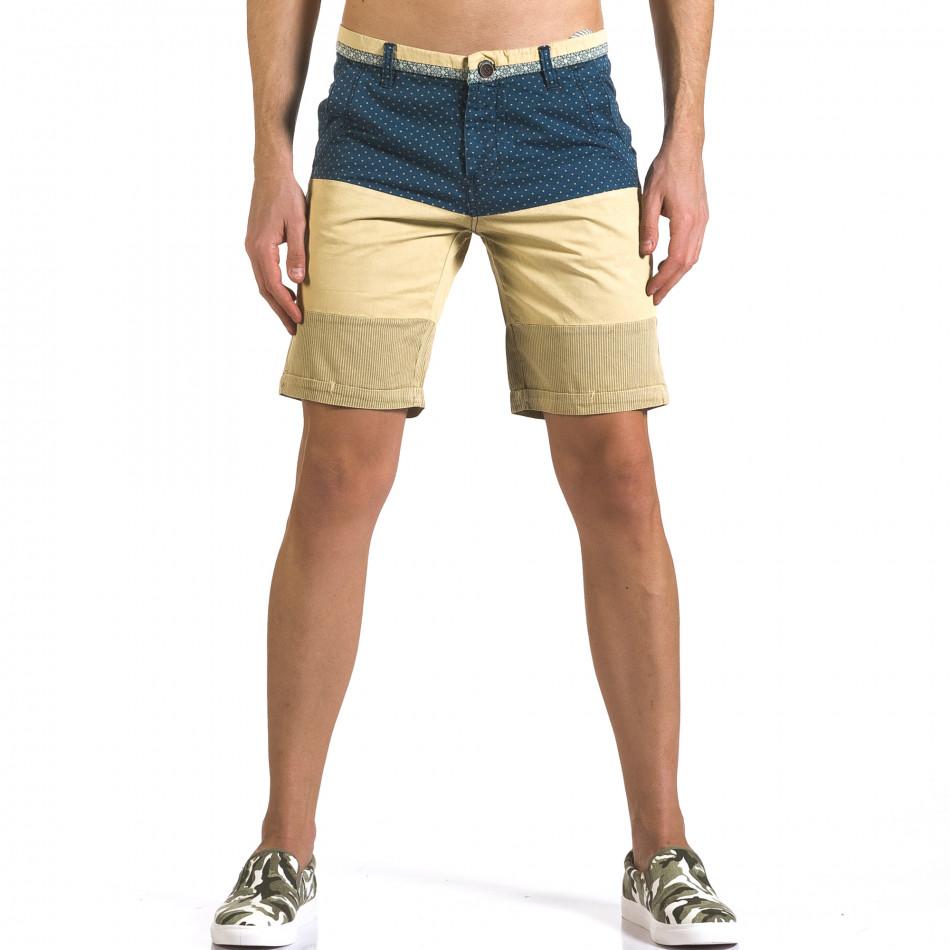 Мъжки бежови къси панталони със синя горна част it110316-53