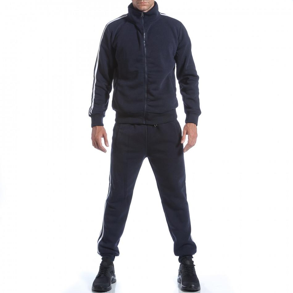 Мъжки син спортен комплект с бели ленти it160817-74