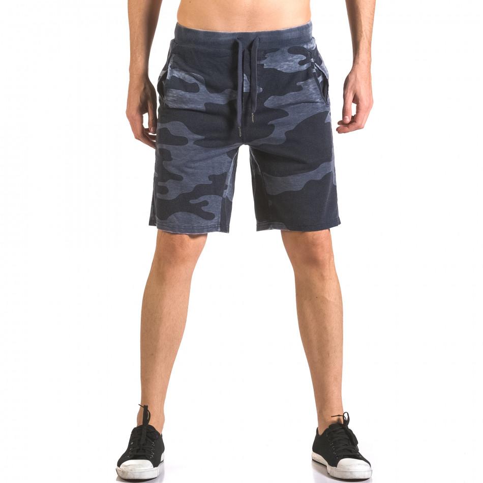 Мъжки къси панталони тип шорти син камуфлаж ca050416-45