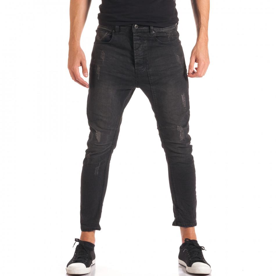 Мъжки тъмно сиви дънки със смъкнато дъно it150816-31