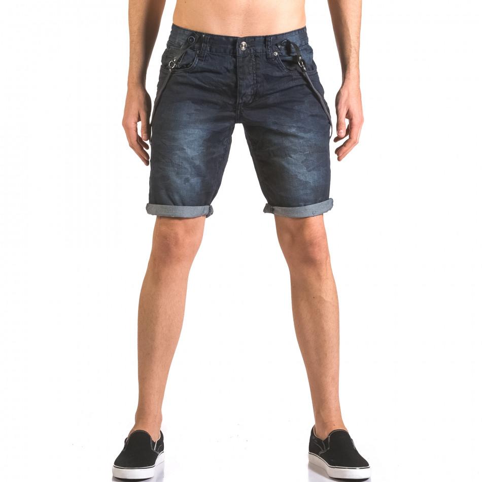 Мъжки къси дънки син камуфлаж с тиранти tsf060416-8