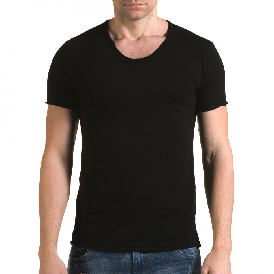 Мъжка черна тениска изчистен модел it090216-78