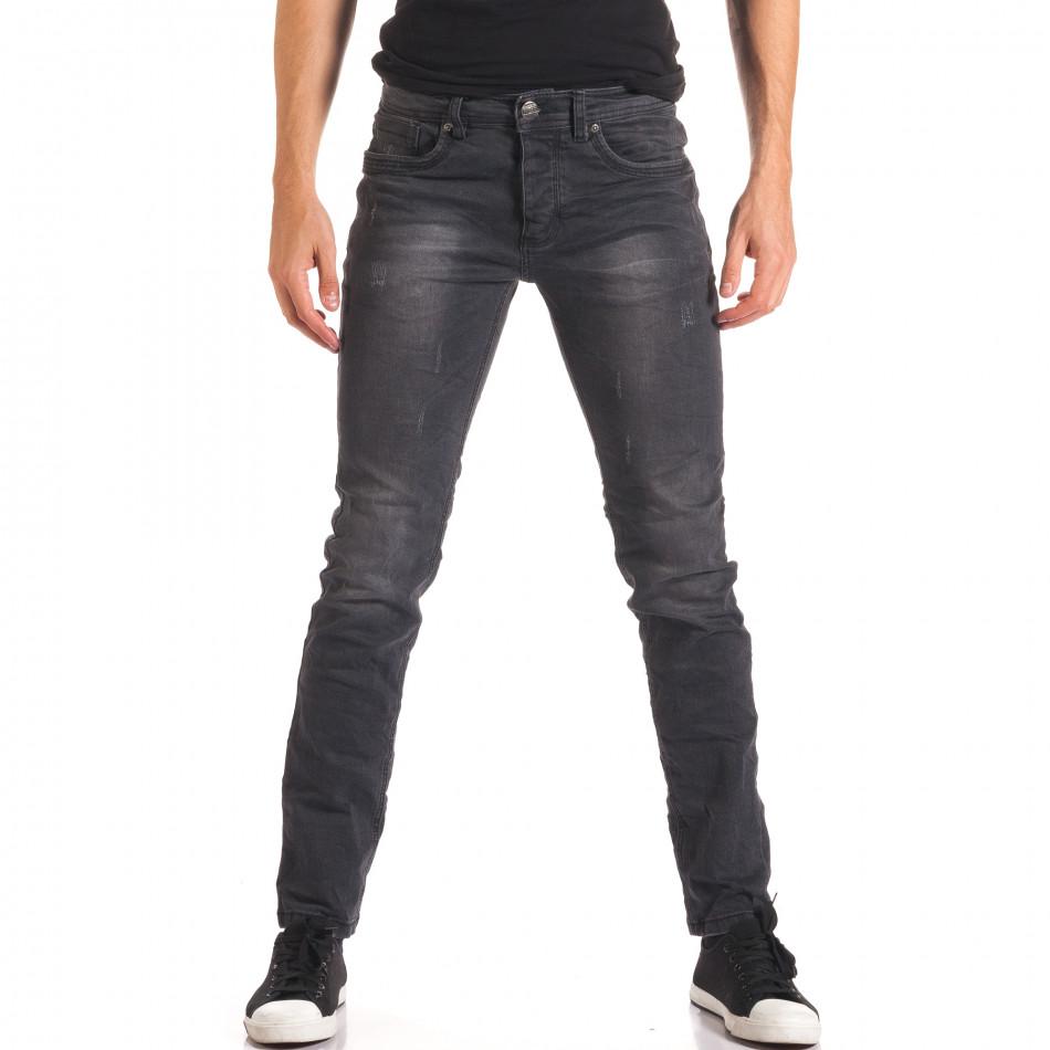 Мъжки тъмно сиви дънки изчистен модел it150816-23