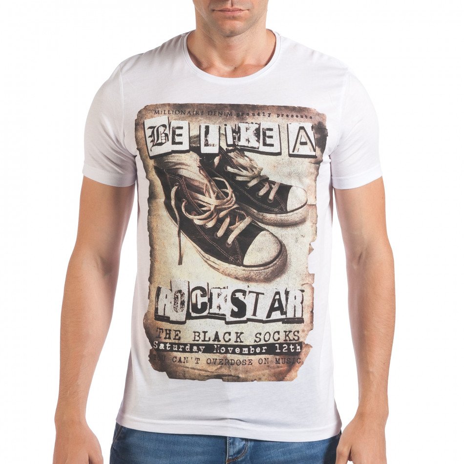 Мъжка бяла тениска с принт кецове il060616-8