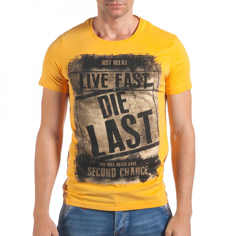 Мъжка жълта тениска Live Fast Die Last il060616-15