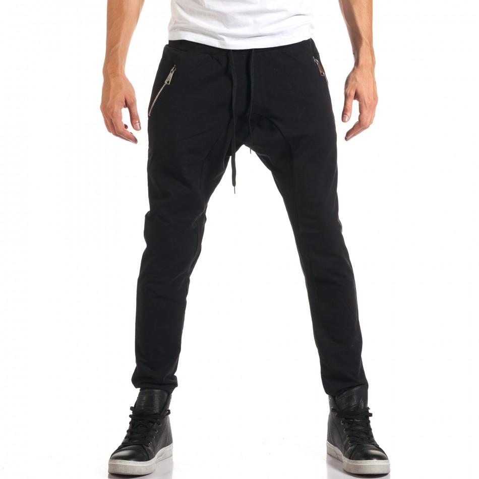Мъжки черни потури със сребристи ципове it160916-48