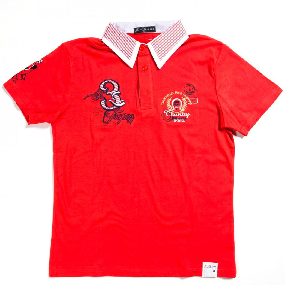 Мъжка тениска с яка X-Name в червено с щампа 140313-28