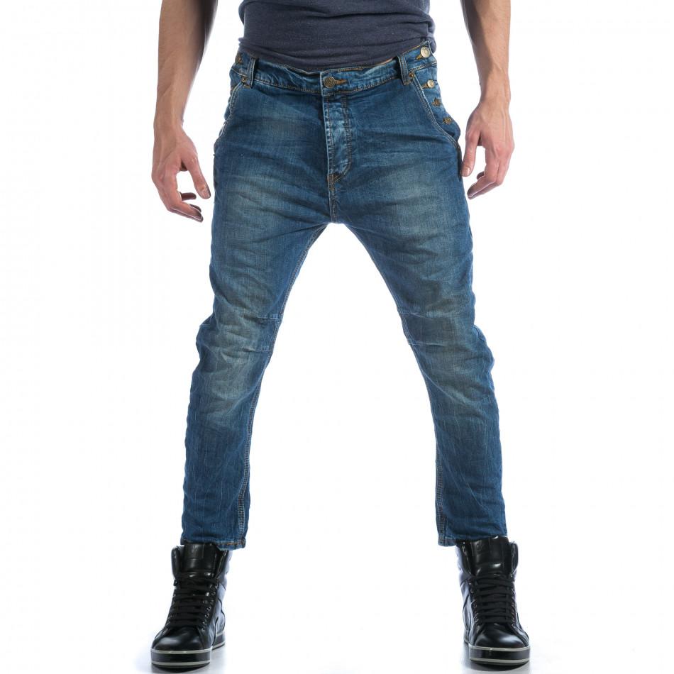 Мъжки сини дънки с много смъкнато дъно  it101114-11