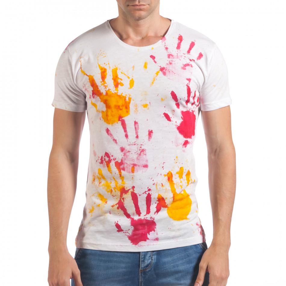 Мъжка бяла тениска с жълти и червени отпечатъци il060616-48