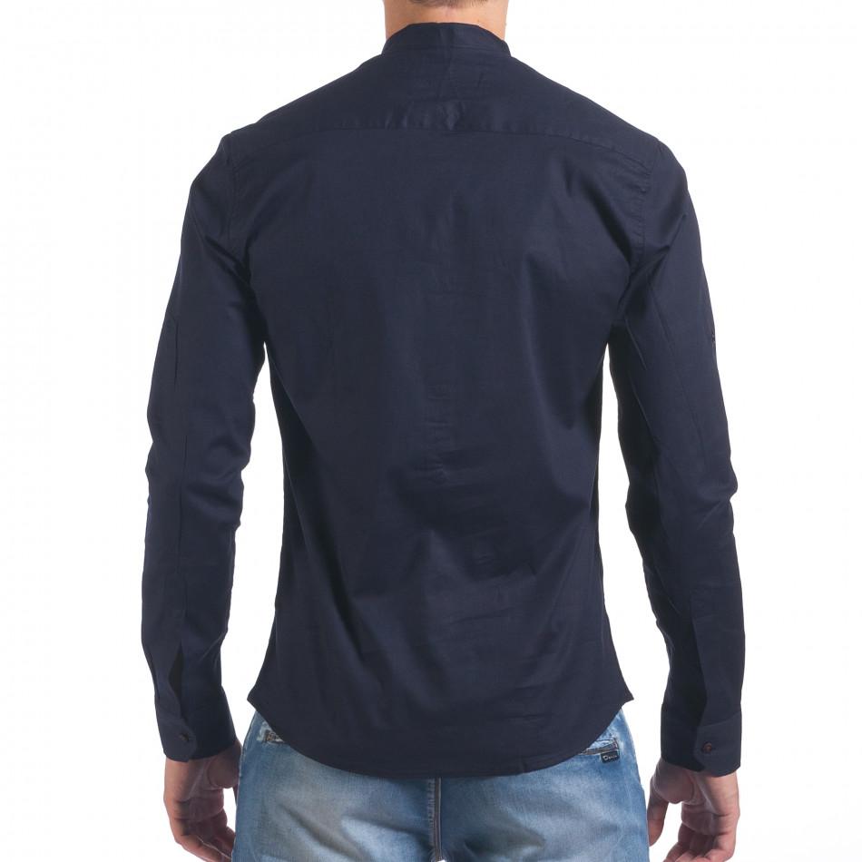 896a4ff2f7c Мъжка синя риза с попска яка il060616-109   Fashionmix.bg