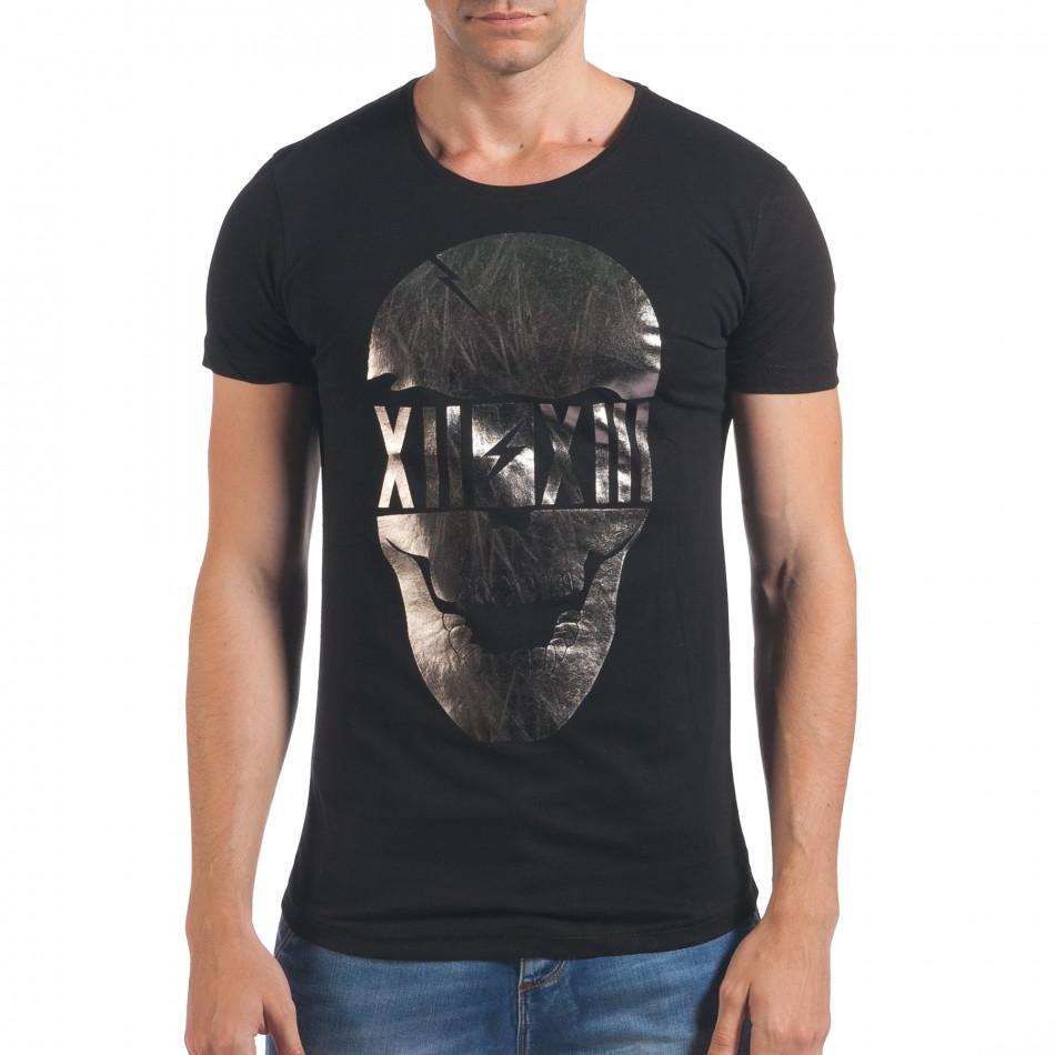 Мъжка черна тениска със сребрист череп отпред il060616-75