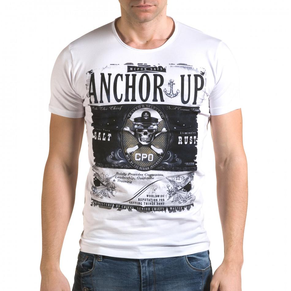 Мъжка бяла тениска с принт череп il120216-19