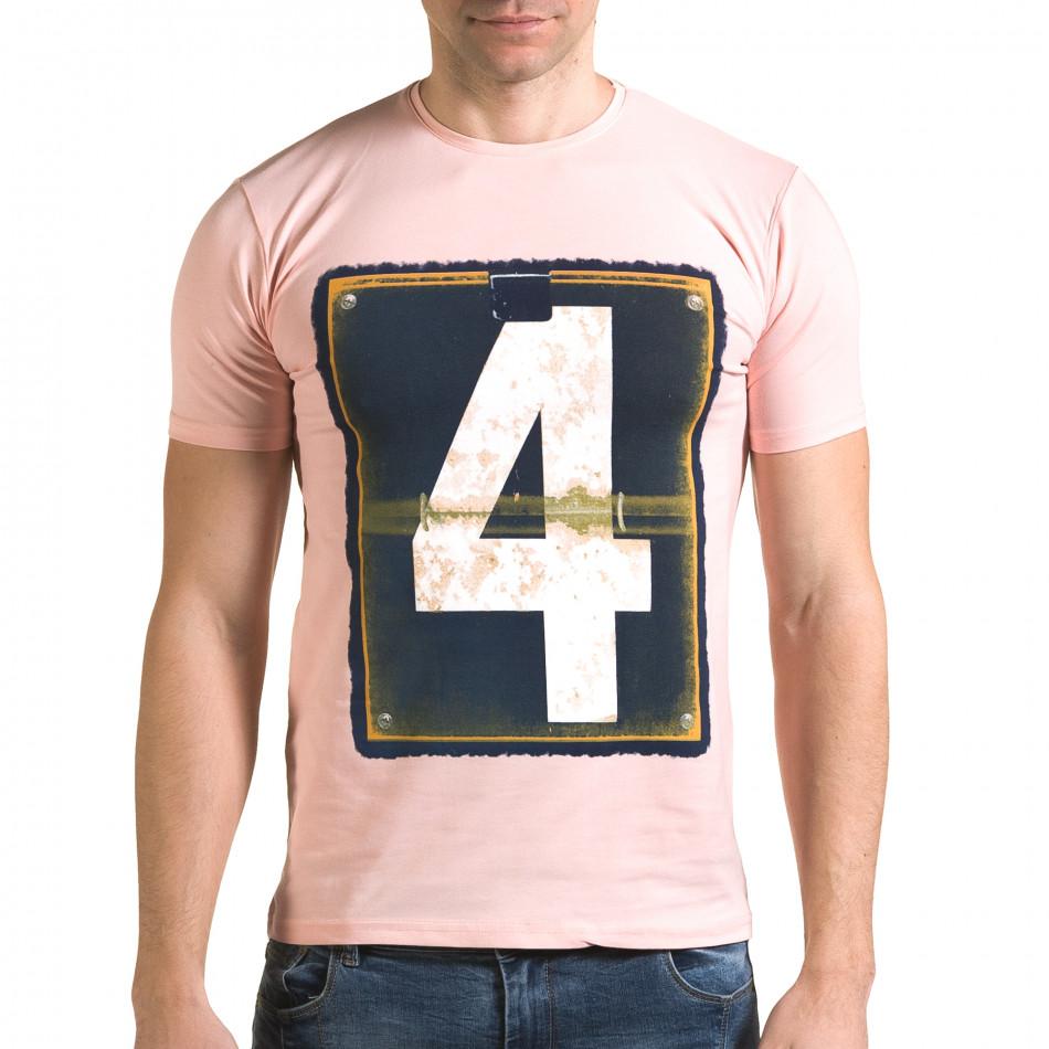 Мъжка розова тениска с номер 4 il120216-42