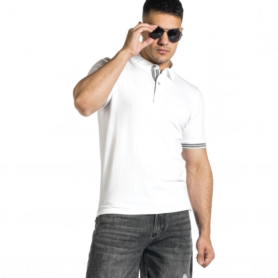 Мъжка бяла тениска с яка и раирано бие it150521-19