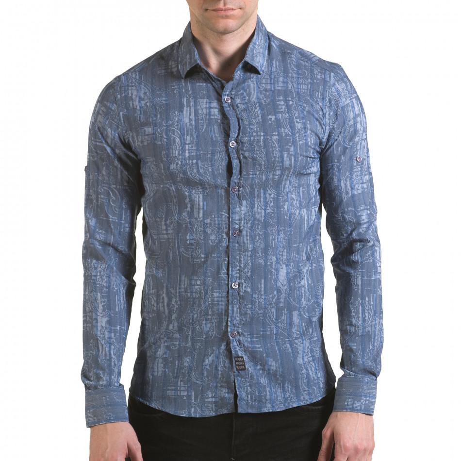 Мъжка синьо-сива риза с фигурална шарка il170216-125