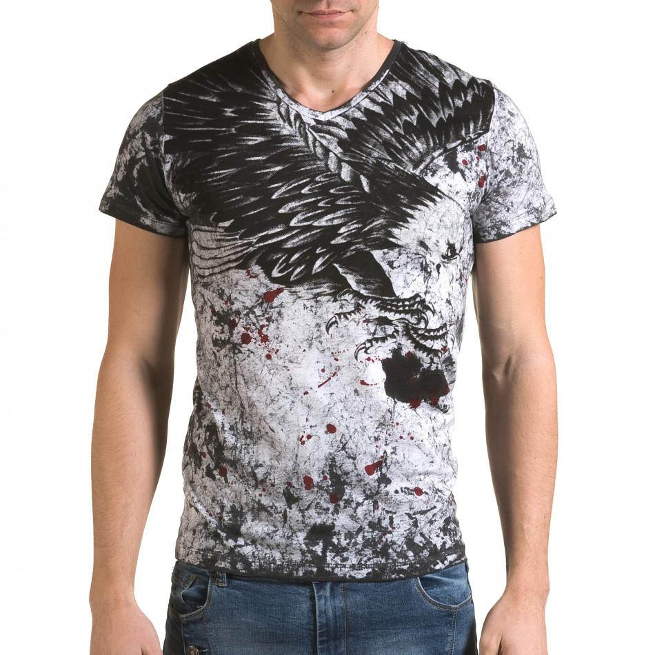 Мъжка сива тениска с орел il120216-47