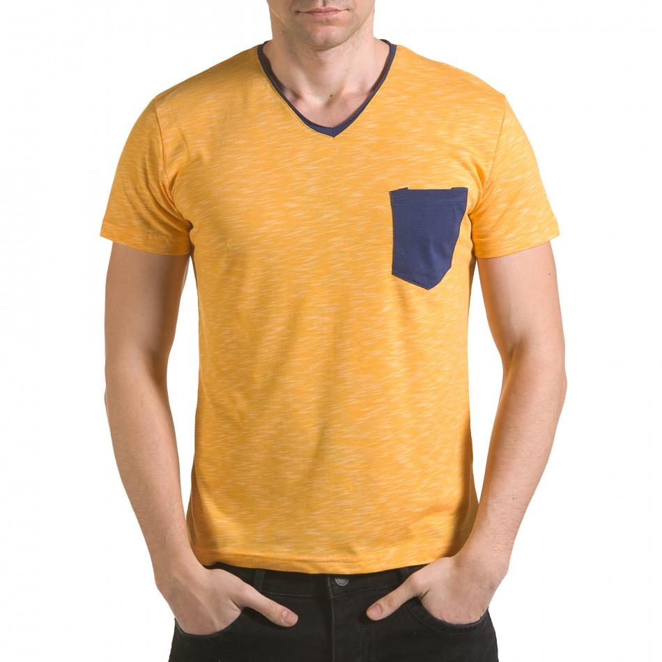 Мъжка жълта тениска с тъмно син джоб il170216-16