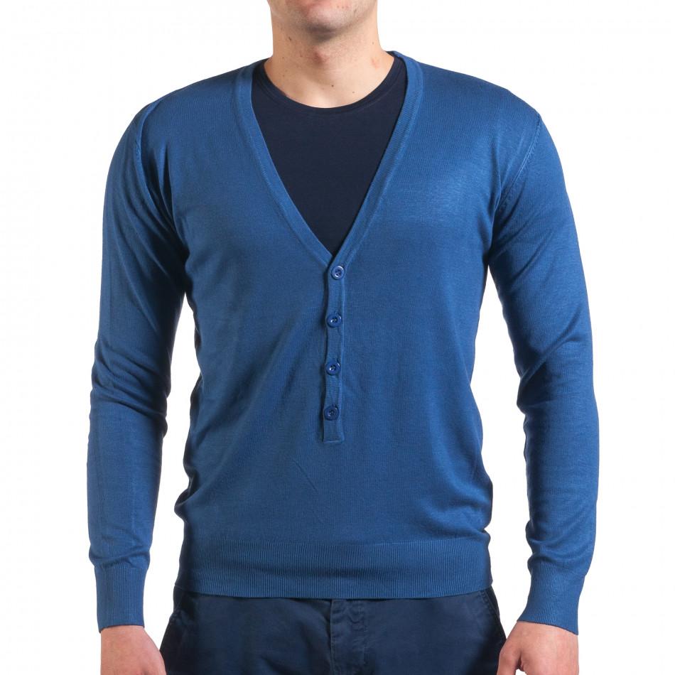 Мъжки син пуловер фина плетка it010416-4
