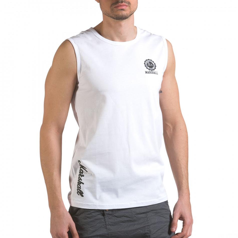 Мъжки бял потник с емблема и надпис it110316-91