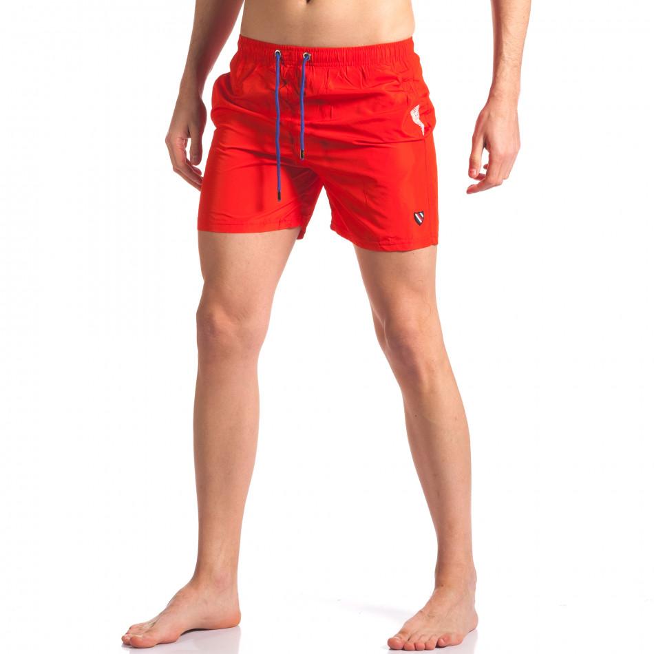 Мъжки бански в червено с лого tsf250416-68