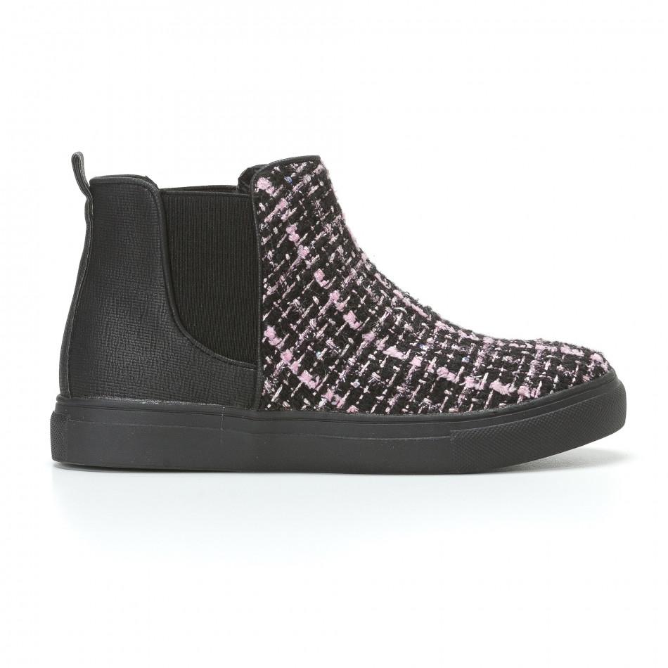 Дамски черни боти с розово-черна текстилна част it110817-4