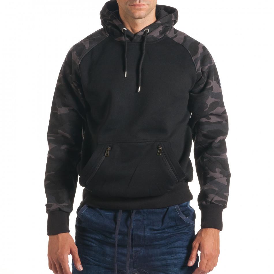 Мъжки черен суичър с камуфлажни ръкави it240816-40