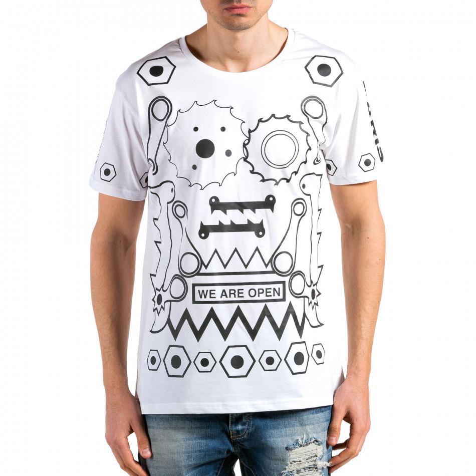 Мъжка бяла тениска с геометрични принтове it180315-46