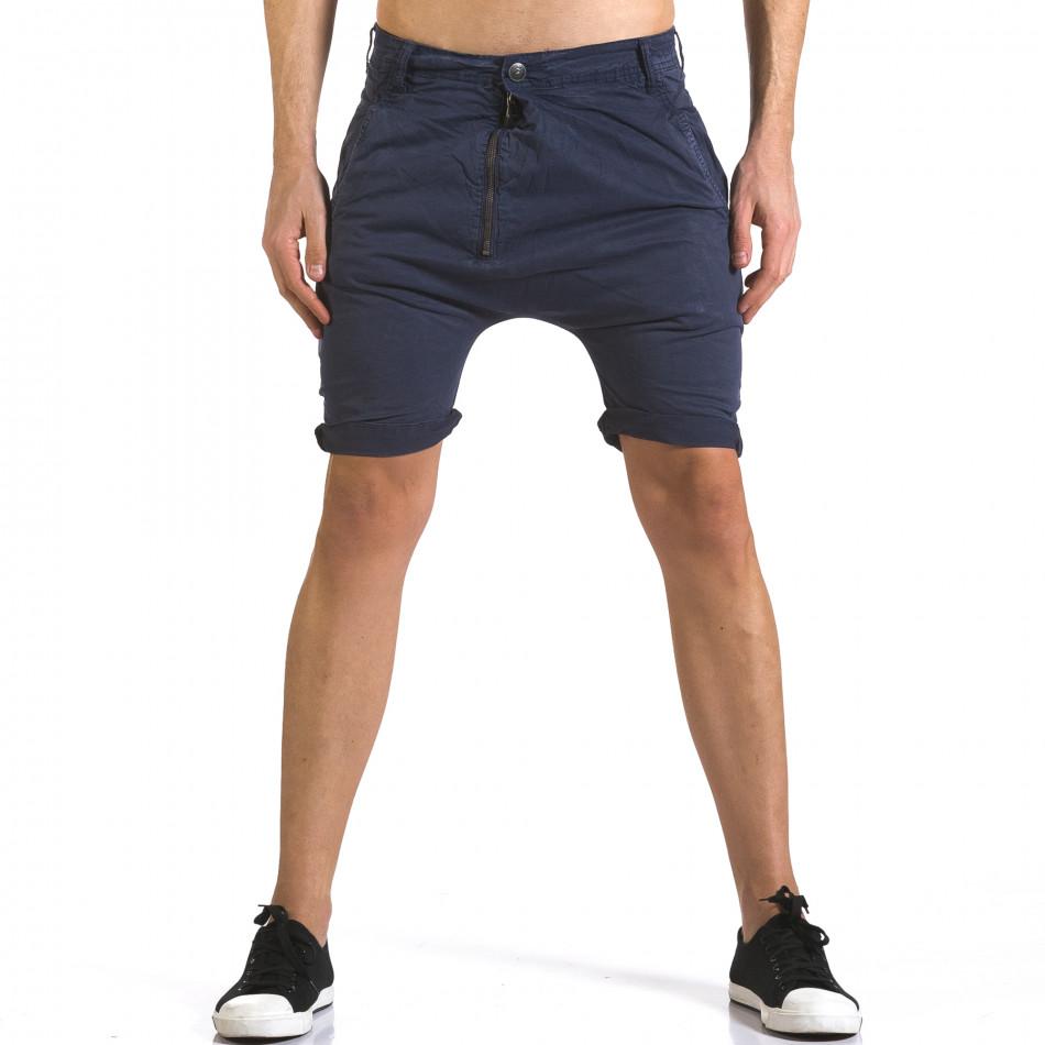 Мъжки сини къси панталони със смъкнато дъно it110316-36