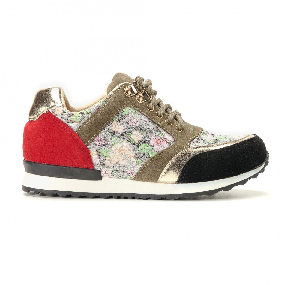 Дамски маратонки на цветя с дантела it200917-53