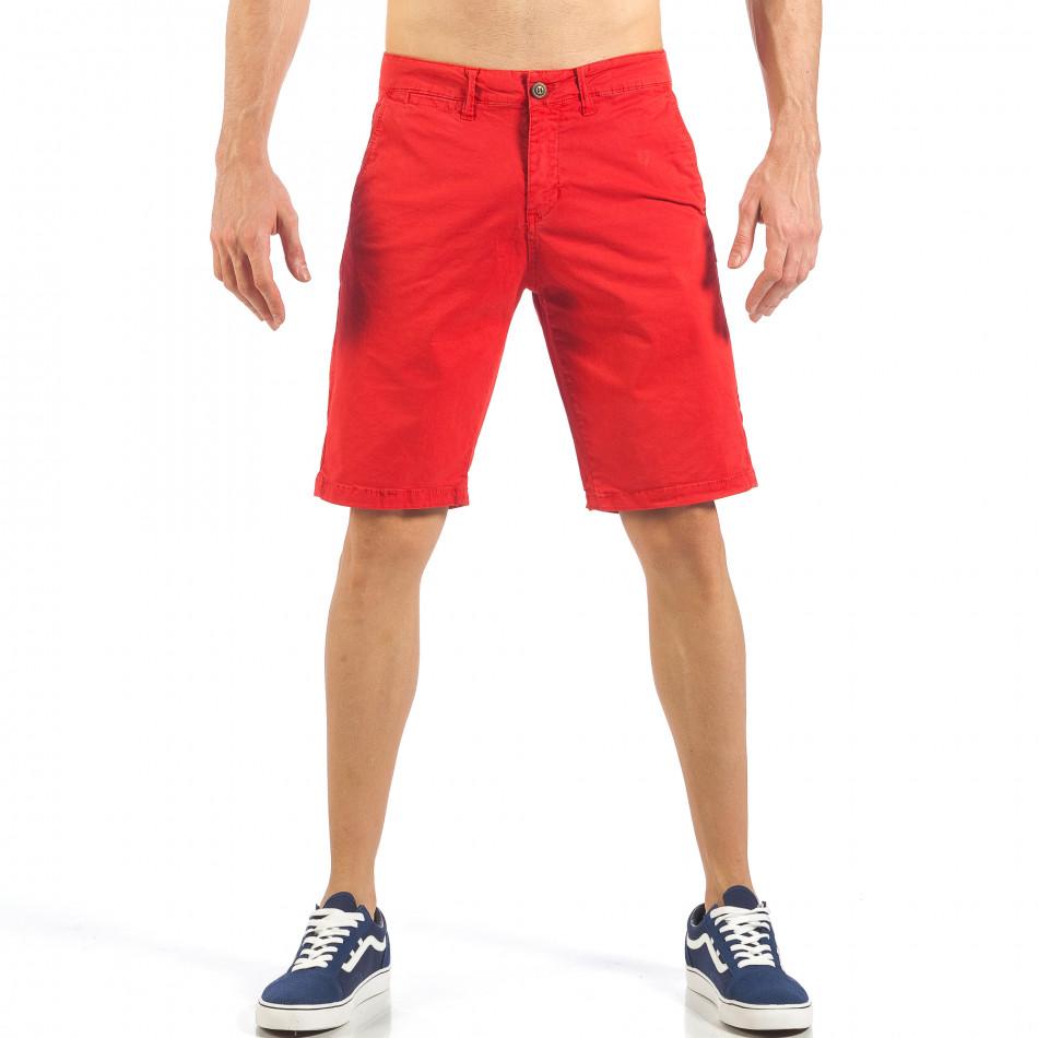 Мъжки червени къси панталони с италиански джобове it260318-138