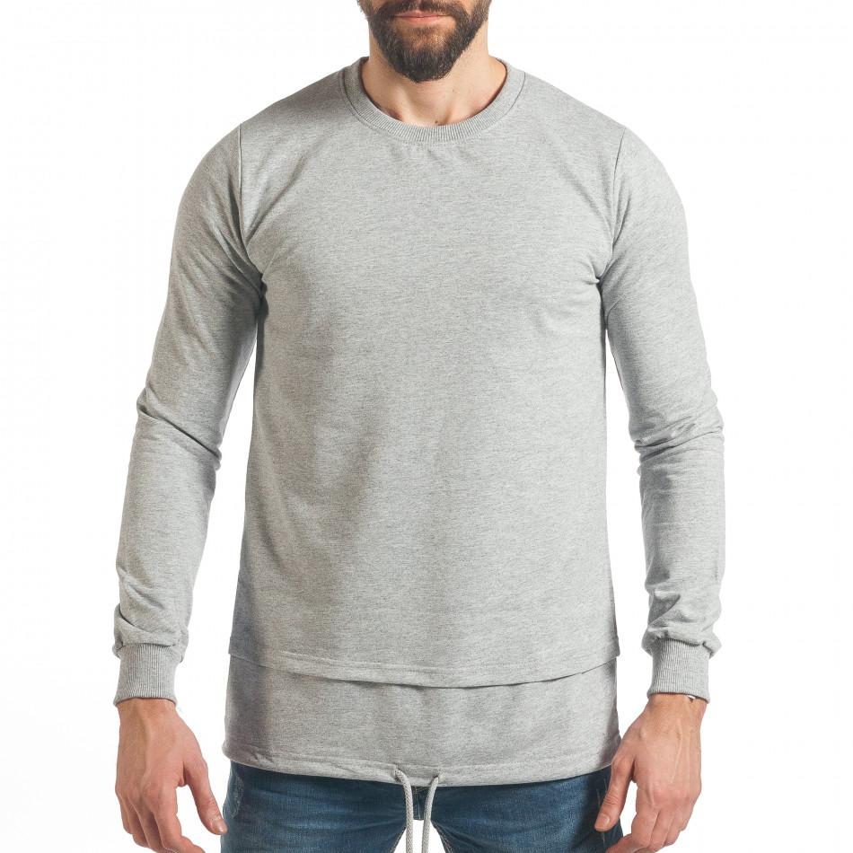 Мъжки сив суичър с връзка it290118-102